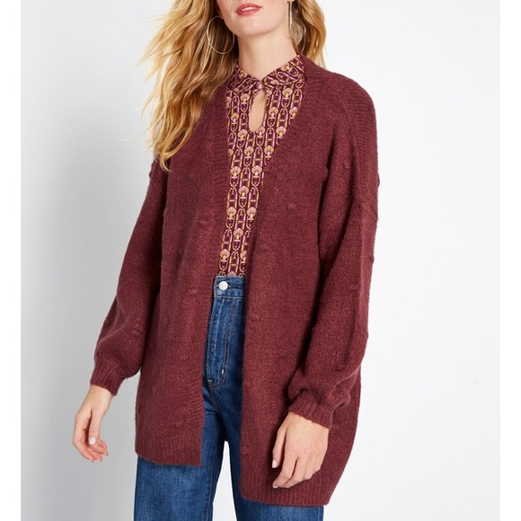 Modcloth Sweaters - Modcloth Burgundy Textured Tendency Long Cardigan